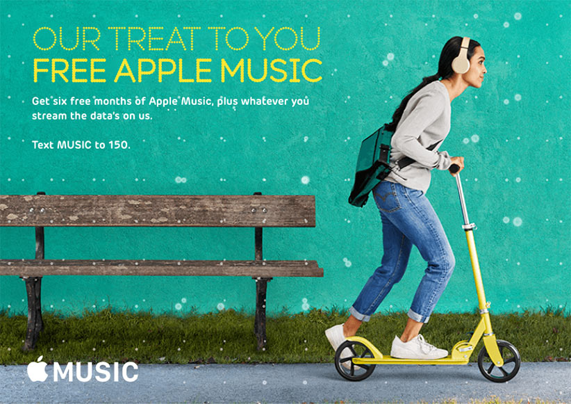 Apple Music. Our treat to you free Apple music. Get six free months of Apple Music, plus whatever you stream the data's on us. Text MUSIC to 150.