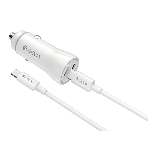 White Dual USB Port Car Charger Adaptor & 1m Type C Cable Devia