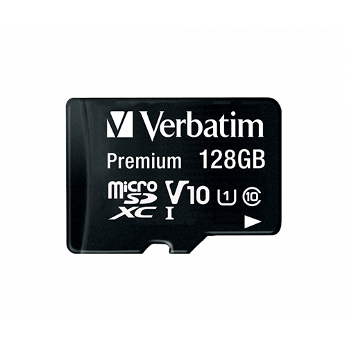 Verbatim Micro SD Memory Card & SD Adapter 128GB Front
